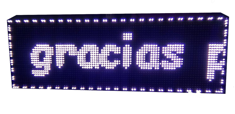 CARTEL LED PROGRAMABLE LETRERO LED PROGRAMABLE PANTALLA LED PROGRAMABLE (96 * 32 cm, BLANCO) ROTULO LED PROGRAMABLE CARTEL ELECTRÓNICO ANUNCIA TU ...