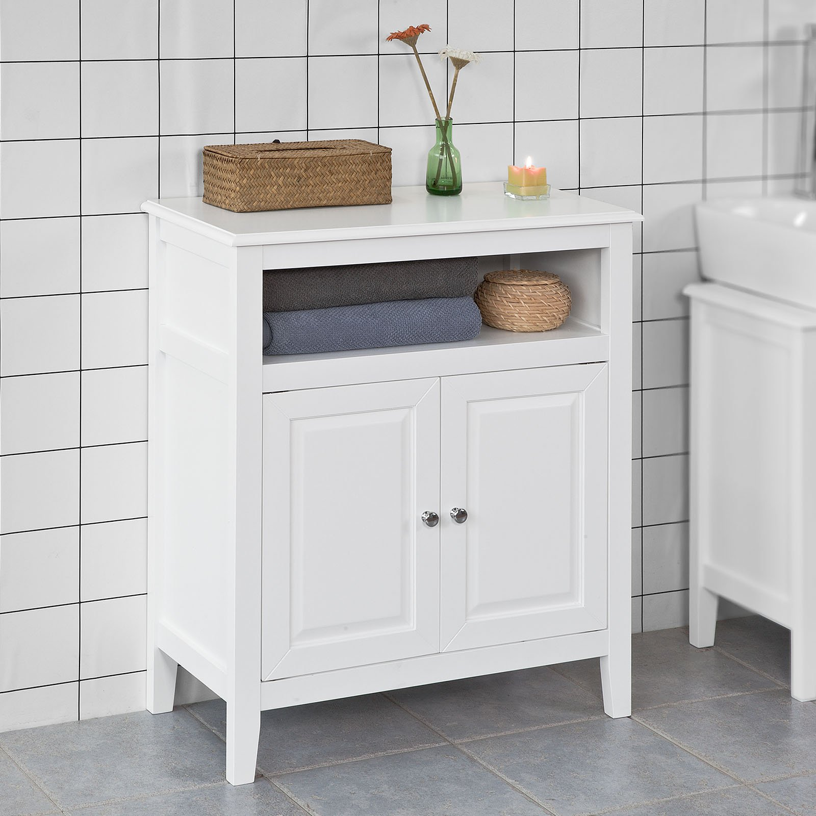 Haotian White Floor Standing Tall Bathroom Storage Cabinet with Drawers,Linen Tower Bath Cabinet, Cabinet with Shelf(FRG204-W)