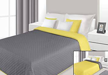 Bedspread Super King 230x260 Cm Reversible Silver Steel Grey Yellow Canary  Quilted Ultrasonic Lightweight Throw ALEX 08: Amazon.co.uk: Kitchen U0026 Home