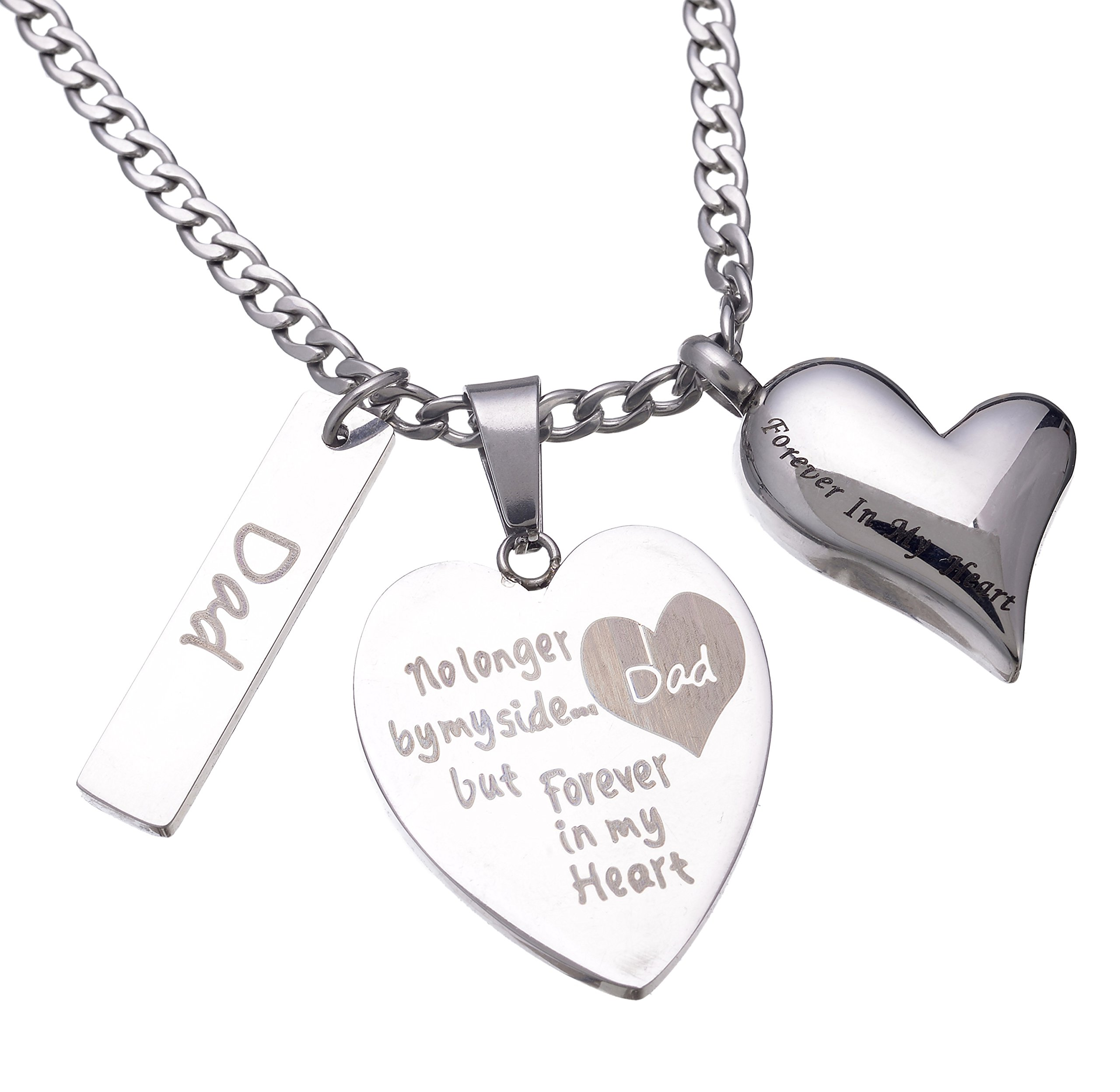 Urn Necklaces for Ashes for Dad,No Longer by My Side Forever in My Heart Cremation Pendant Memorial Jewelry