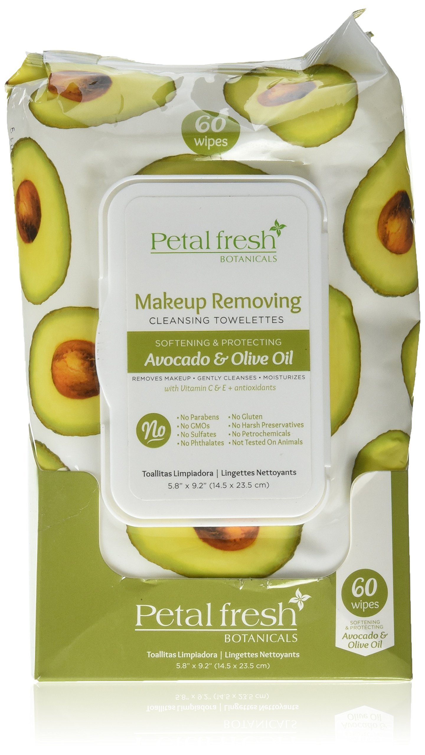 Petal Fresh Brightening Avocado & Olive Oil Softening Plus Protecting Facial Wipes, 60 Count