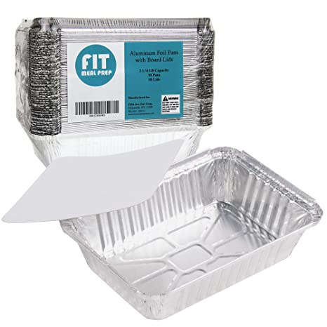 Rectangular Disposable Aluminum Foil Pan Take Out Food Containers with Flat  Board Lids, Steam Table Baking Pans, 32 oz, 2 25 lb, Quart [50 Pack]