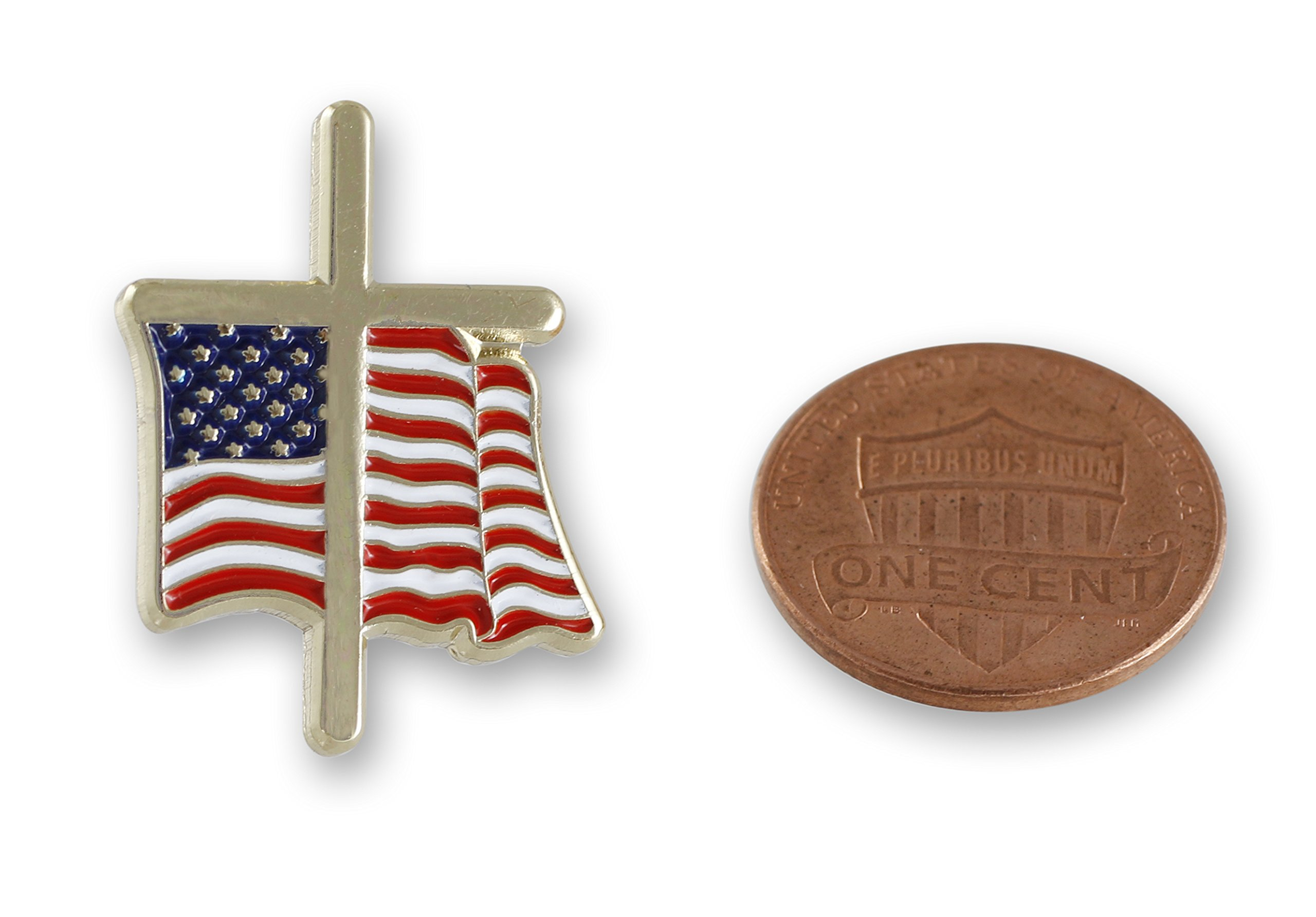 American Flag with Religious Cross Lapel Pin (50 Pins) by Forge (Image #9)