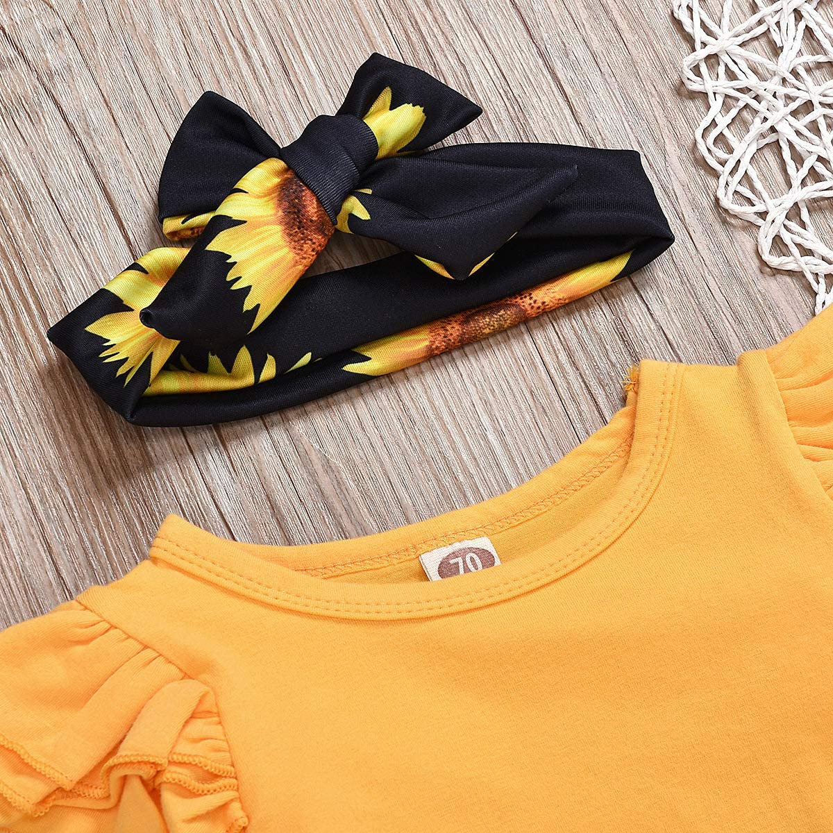 Floral Trouser Sunflower Headband Set Infant Toddler Fashion Cotton Clothes for 0-24 Months Ciujoy Baby Girls Outfits 3 Pieces Long Sleeve Romper