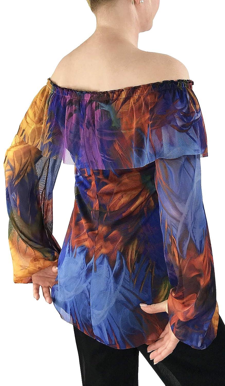 Lynn Sheer Long Sleeve Off Shoulder Print Mesh Peasant Top with Shoulder Overlay