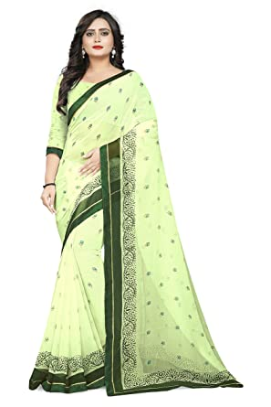 9d1912ebe4 Jaanvi Fashion Women's Chiffon Floral Printed Saree With Lace  (american-beauty-pastel-