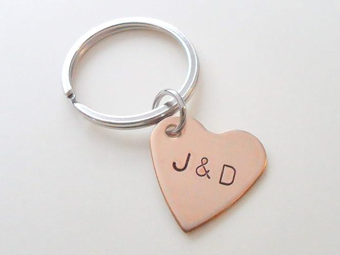 Custom Personalized Small Bronze Heart Keychain, Hand Stamped Initials,  Anniversary Gift, Husband Wife Key Chain, Boyfriend Girlfriend Gift,