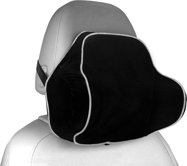 MyGadget Almohada Cabeza para Coche - Cojin Cervical y Cuello para Conducir - Soporte Reposacabezas Ortopédico de Viaje - Soporte Extra - Negro