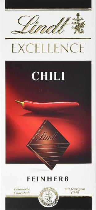 Lindt Excellence Chili, dunkle Chocolade mit der ausgewogenen Schärfe feuriger Chilischoten, glutenfrei, 100g