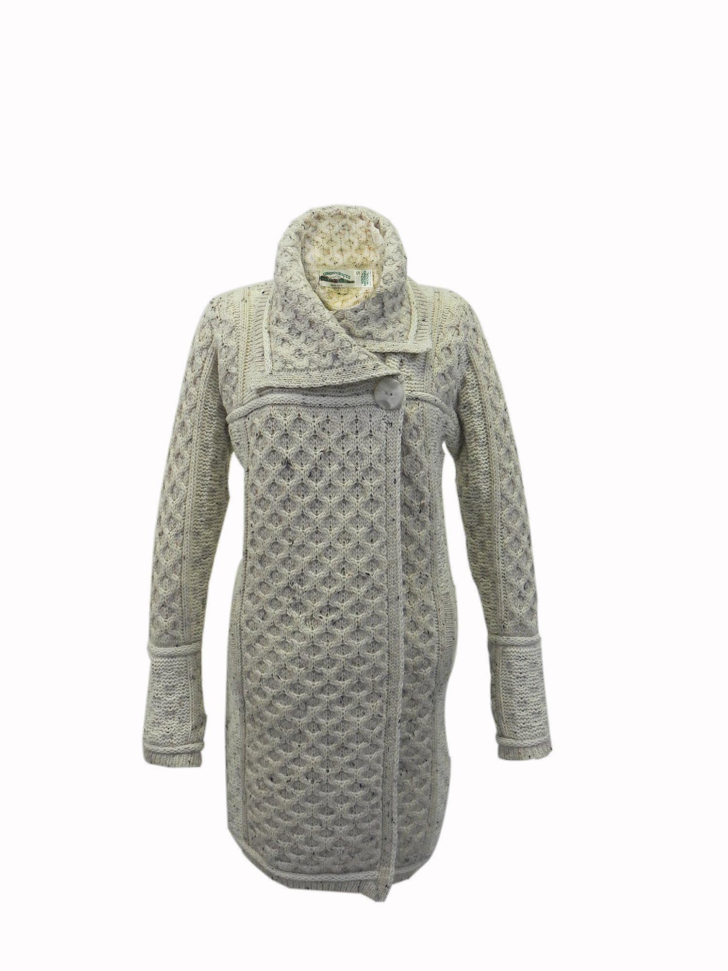 Irish Merino Wool Single Button Plated Coat (Small, Oatmeal)