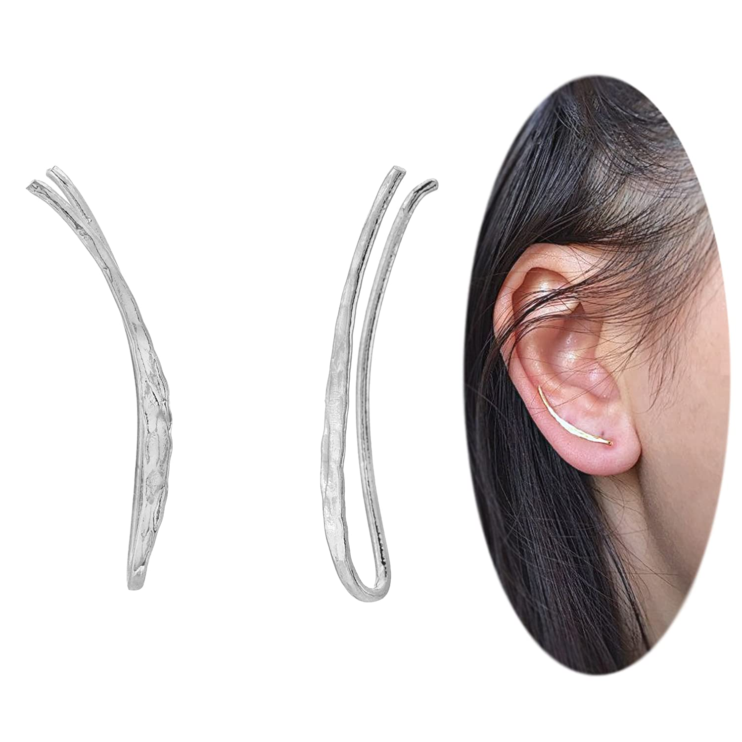 Ear Climber Crawler Cuff Earrings - 925 Sterling Silver Plated with 18K Gold CY Supplies 304B