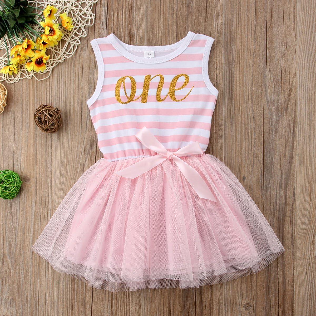Toddler Little Girls Striped Alphabet Bownot Lace Princess Tutu Dress