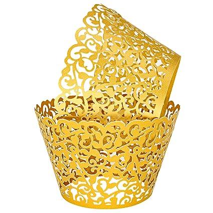 Keiva Pack Of 100 Vine Cupcake Holders Filigree Artistic Bake Cake Paper Cups Vine Designed Decor Wrapper Wraps Cupcake Muffin Paper Holders For
