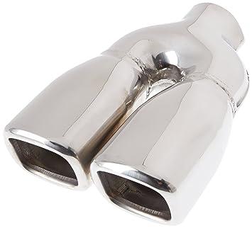 ER004 - Acero inoxidable de doble tubo de escape del tubo de escape de para atornillar Embellecedor de tubos de escape universales con la aprobación y el ...