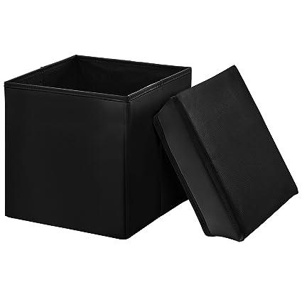 en.casa Sitzhocker weiß 30x30x30cm Sitzwürfel Aufbewahrungsbox Hocker Truhe