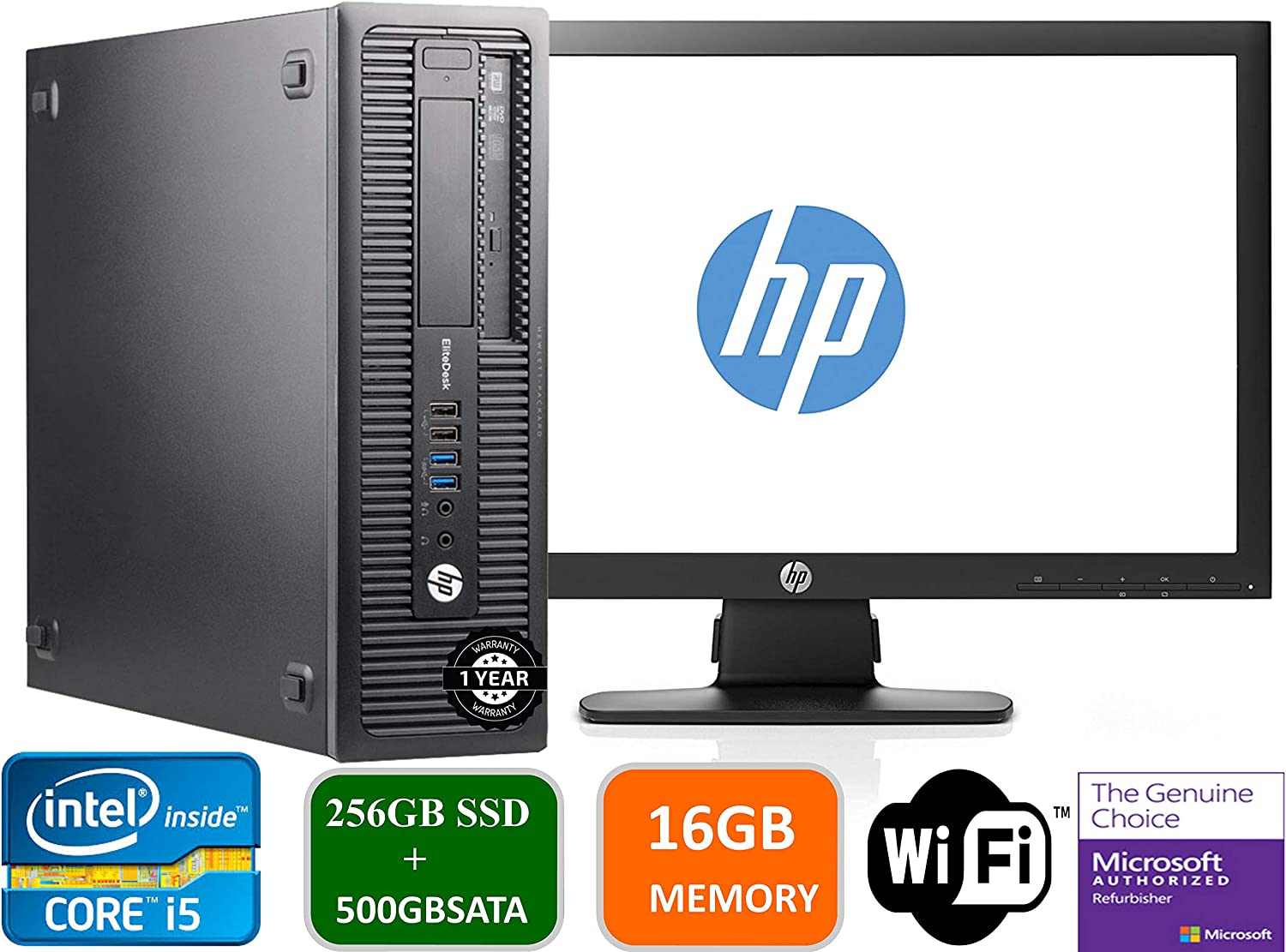 "HP Prodesk 600 G1 SFF Slim Business Desktop Computer, Intel I5-4570 3.20 GHz, 16GB RAM, 256GB SSD + 500gb SATA Drive,with 22"" P221 HP Monitor, DVD, USB 3.0, Windows 10 Pro 64 Bit (Renewed)"