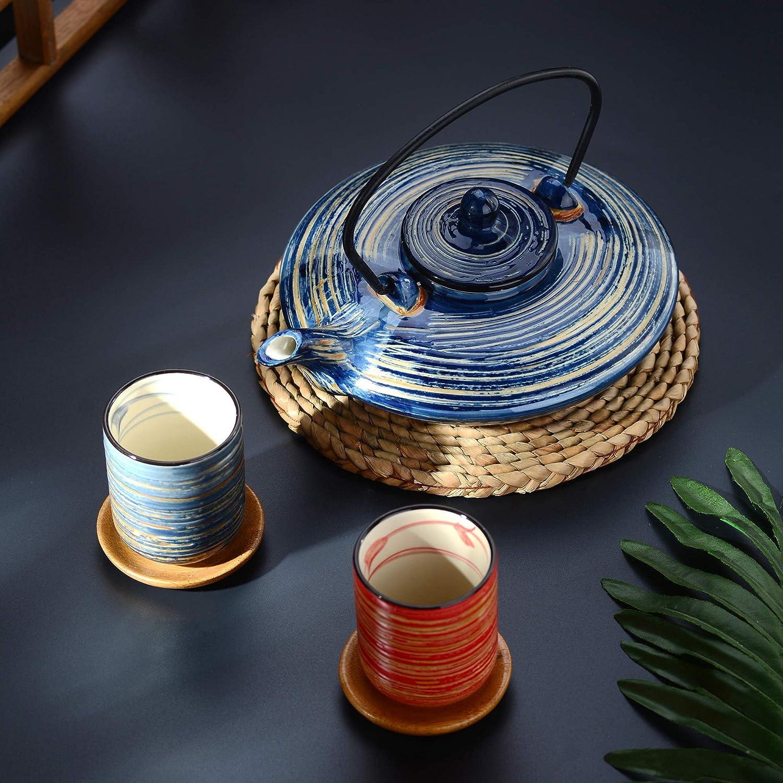 contiene 1 tetera de 630 ml con 2 tazas de t/é de 150 ml y colador de t/é de acero inoxidable Panbado Juego de t/é de porcelana japonesa