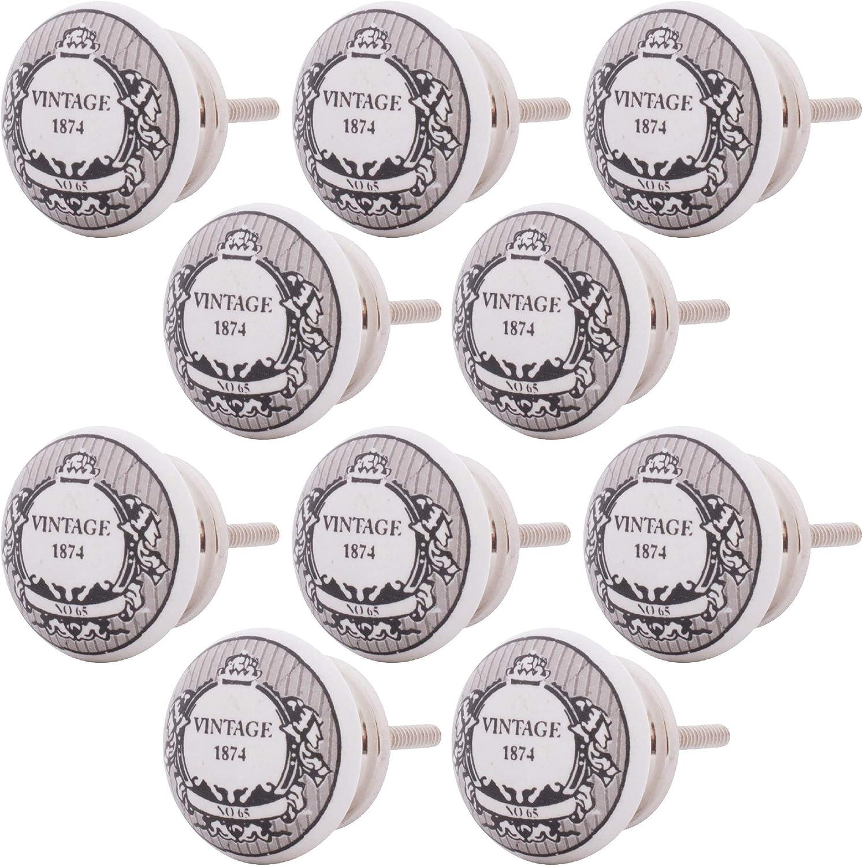 Knober Vintage M/öbelkn/öpfe Keramik Porzellan Vintage Landhausstil Shabby-Chic 40mm Knauf T/ürgriff 10 X Badge - Vin05