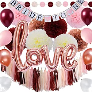 Burgundy and Rose Gold Bachelorette Party Decorations Bridal Shower Kit - Classy Pink Engagement Decor - Tissue Pom Poms Balloons Bride to Be Banner Circle Garland Tassels - All in ONE