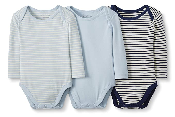 Baby Moon and Back by Hanna Andersson Baby 3-Pack Organic Cotton Long Sleeve Bodysuit