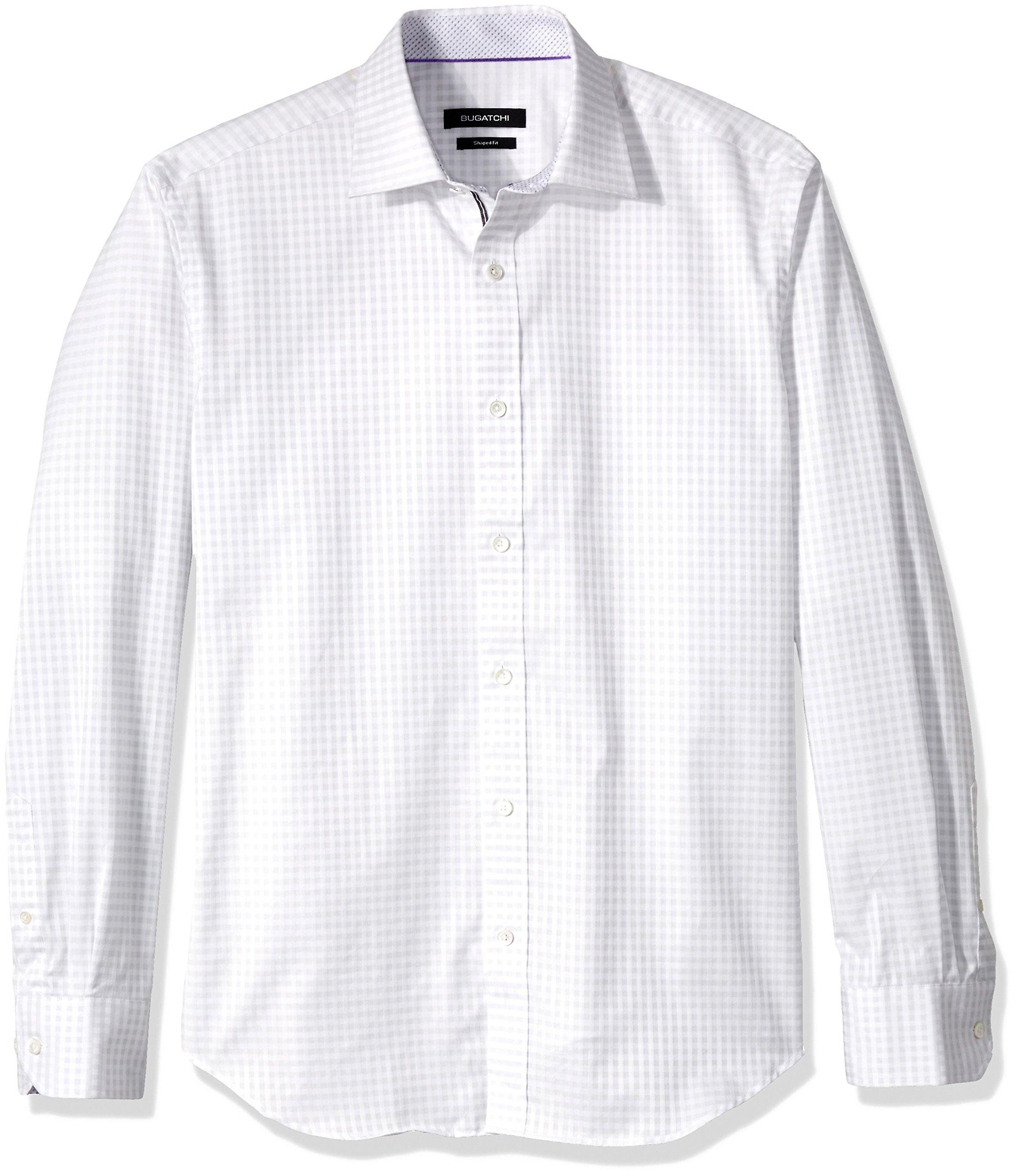 BUGATCHI Men's Cotton Shaped Fit Point Collar Shirt, White, X-Large