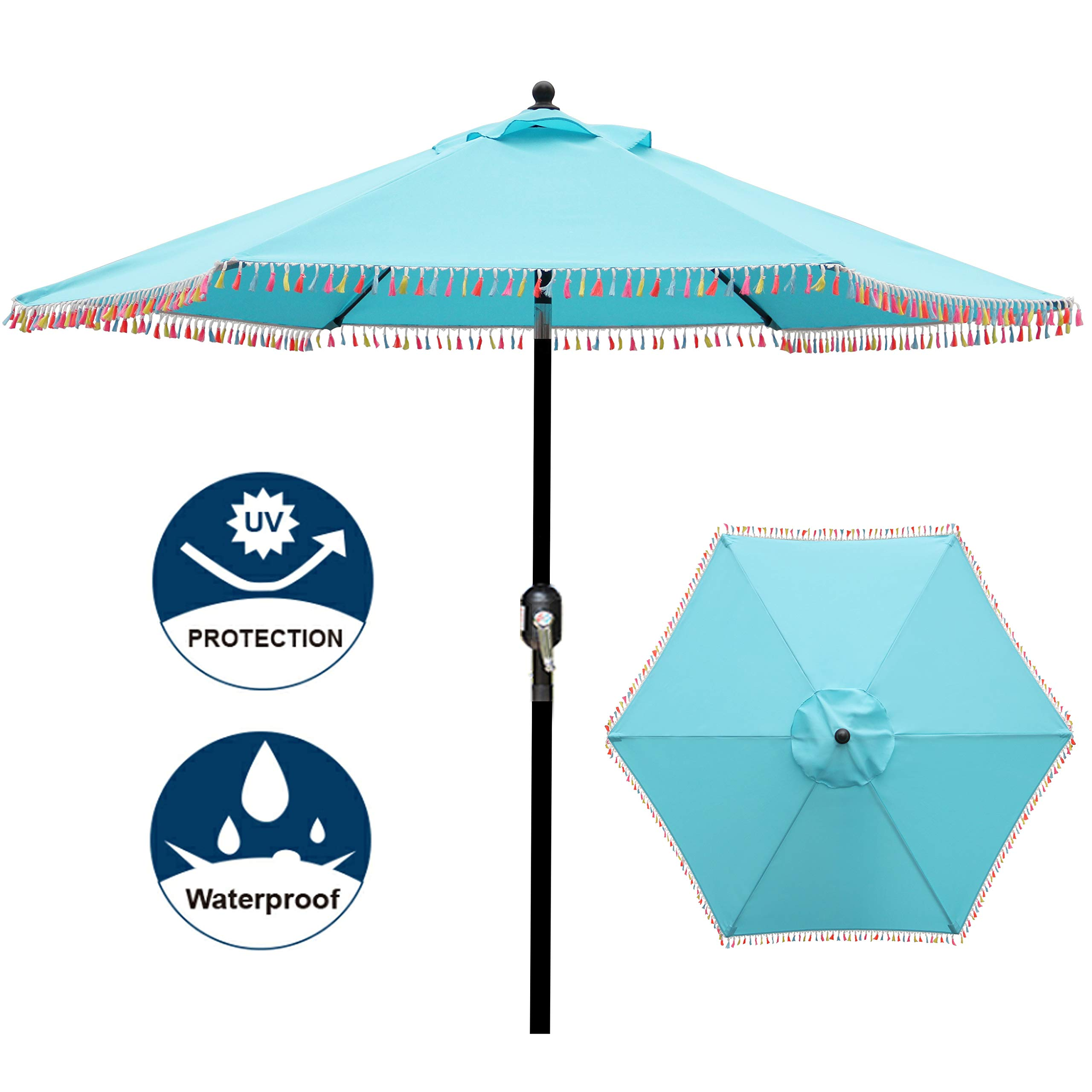 Blissun 7.5 ft Patio Umbrella with Fringe, Yard Umbrella Push Button Tilt Crank by Blissun