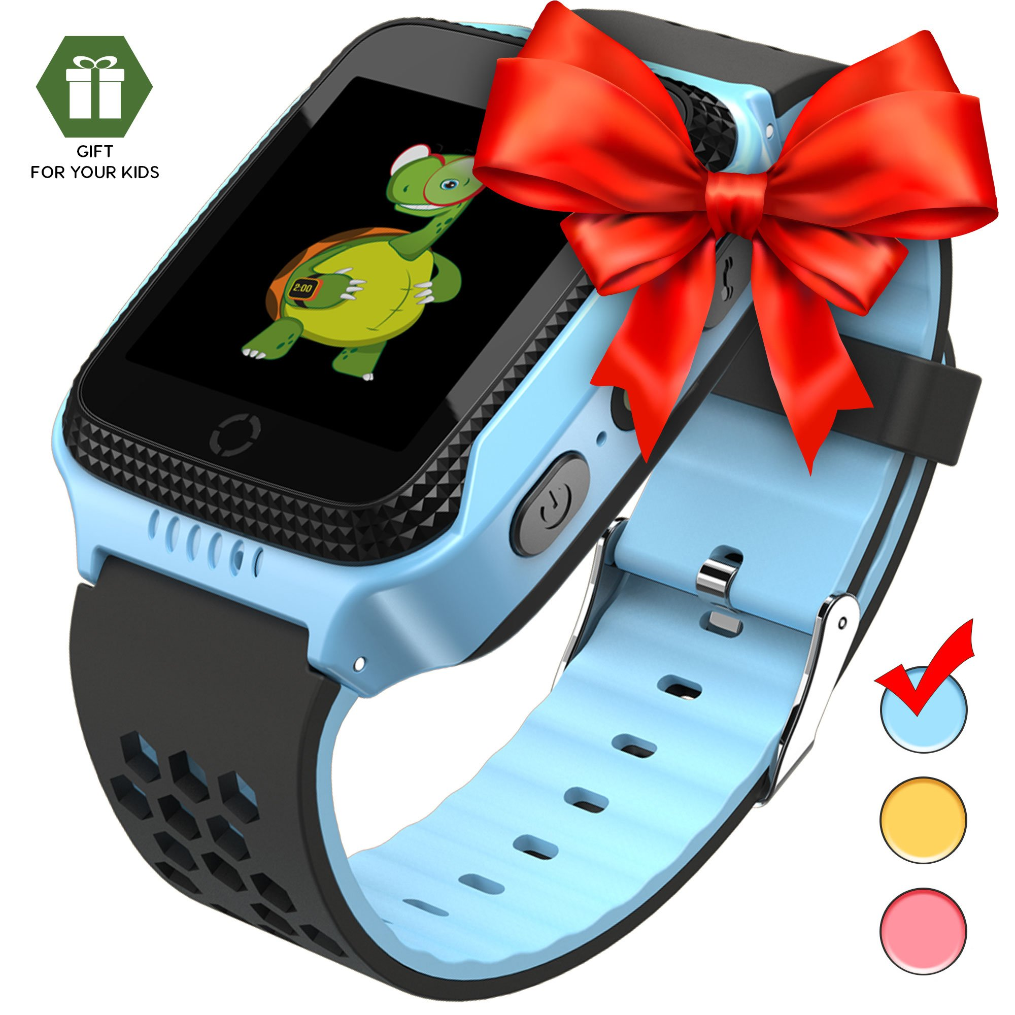 Smart Watch Kids - Smart Watches Boys Smartwatch GPS Tracker Watch Wrist Android Mobile Camera Cell Phone Best Gift Girls Children boy Pink Blue Yellow