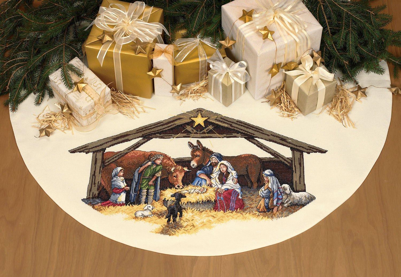 Amazon Dimensions Nativity Scene Cross Stitch Tree Skirt Table Cover Kit