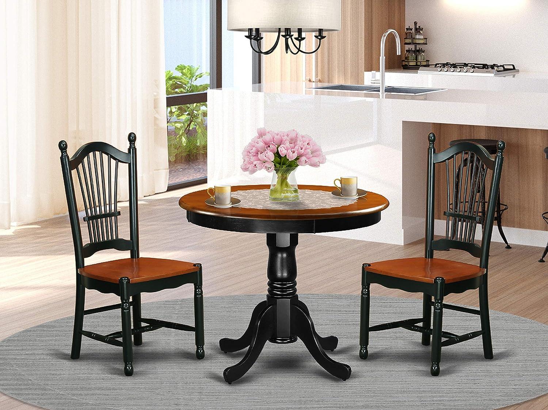 East West Furniture Kitchen Set, 3 Pieces, Black/Cherry