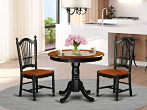 East West Furniture Kitchen Set, 3 Pieces, Black/Cherry