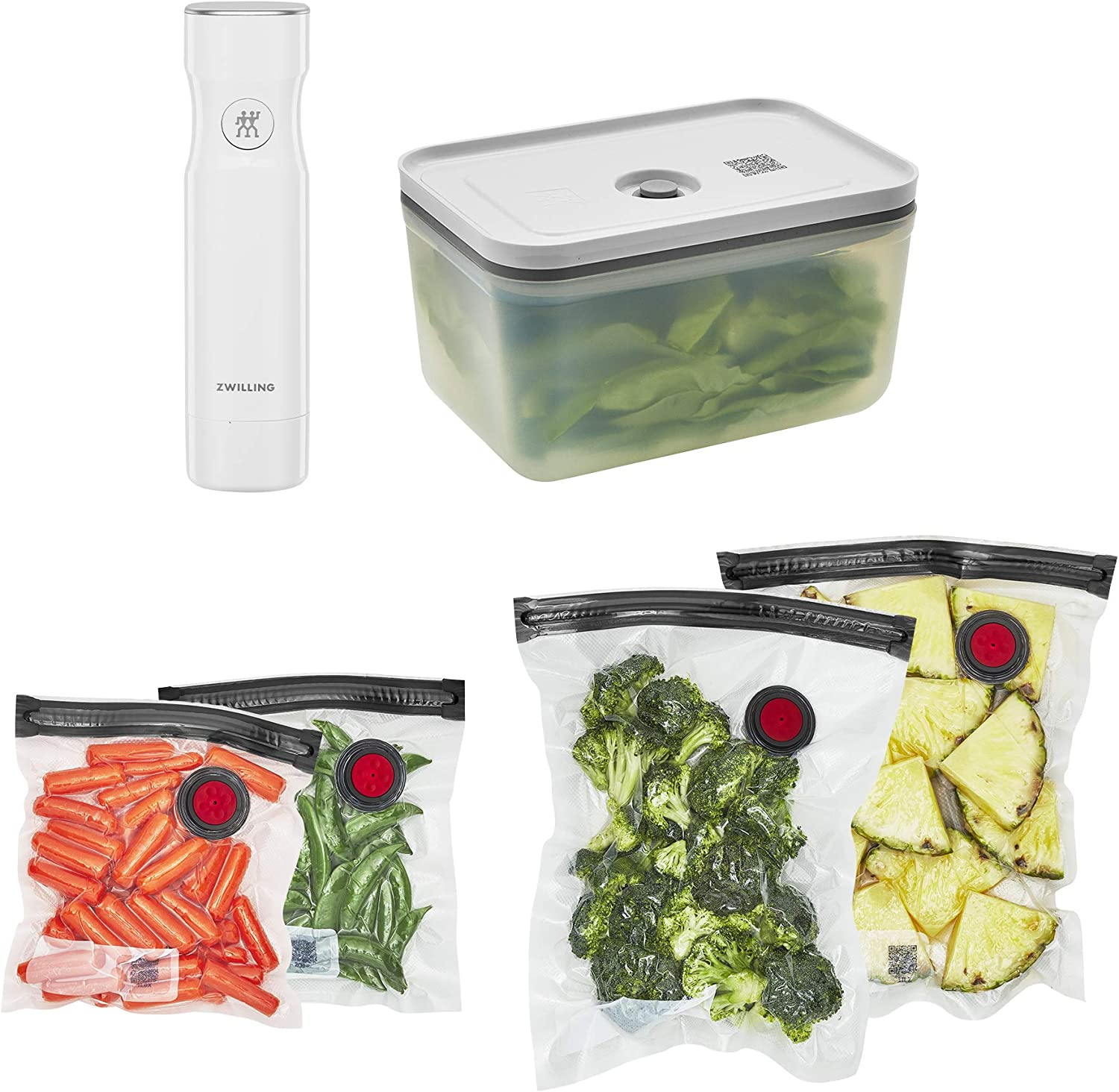 ZWILLING Fresh & Save Vacuum Sealer Machine Starter Set, Food Saver, Plastic 6 piece BPA Free, Meal Prep or Sous Vide