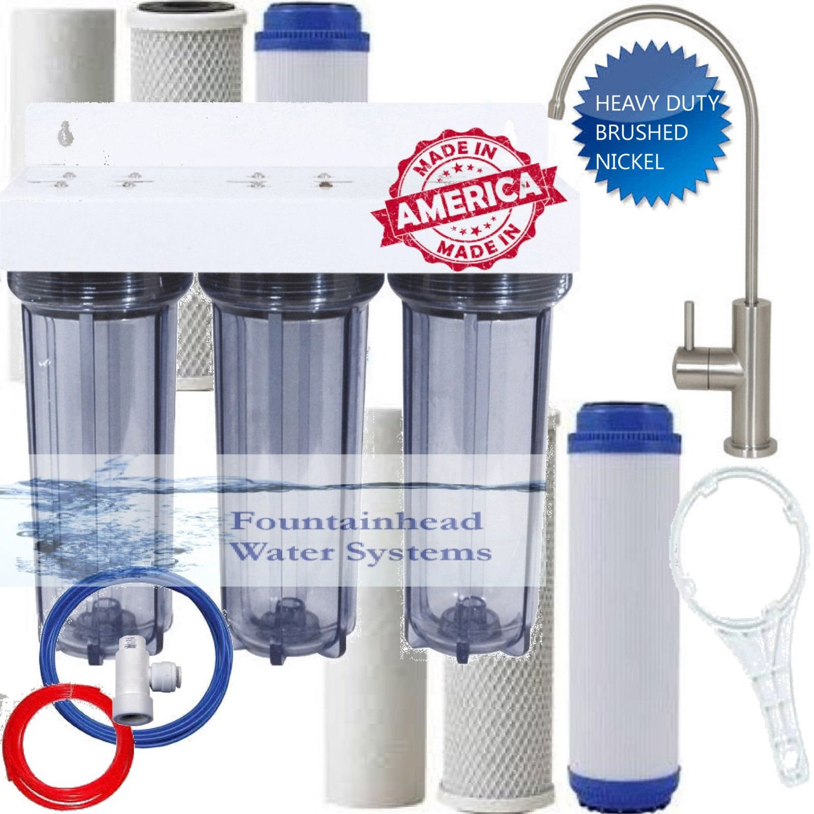 Clear 3 Stage Under Sink Water Filter Extra Filters Luxury Brushed Nickel Faucet by Fountainhead Water System