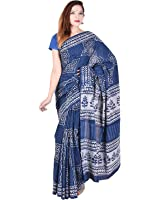 Cotton India Women's cotton indigo Bagru Print Saree