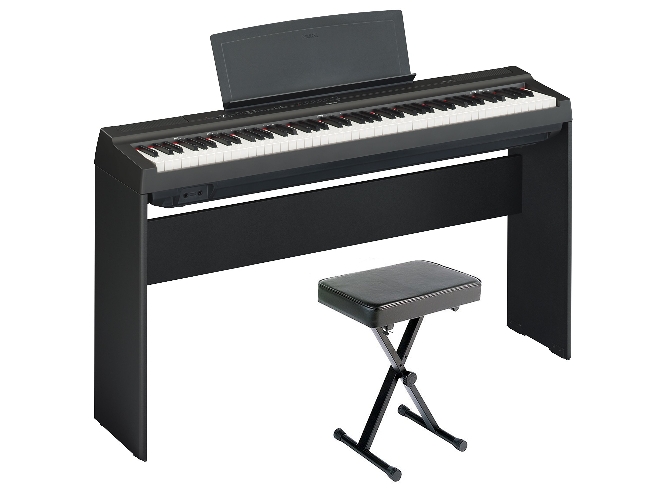 Yamaha P125 Digital Piano Home Bundle with Furniture Stand and Bench, Black