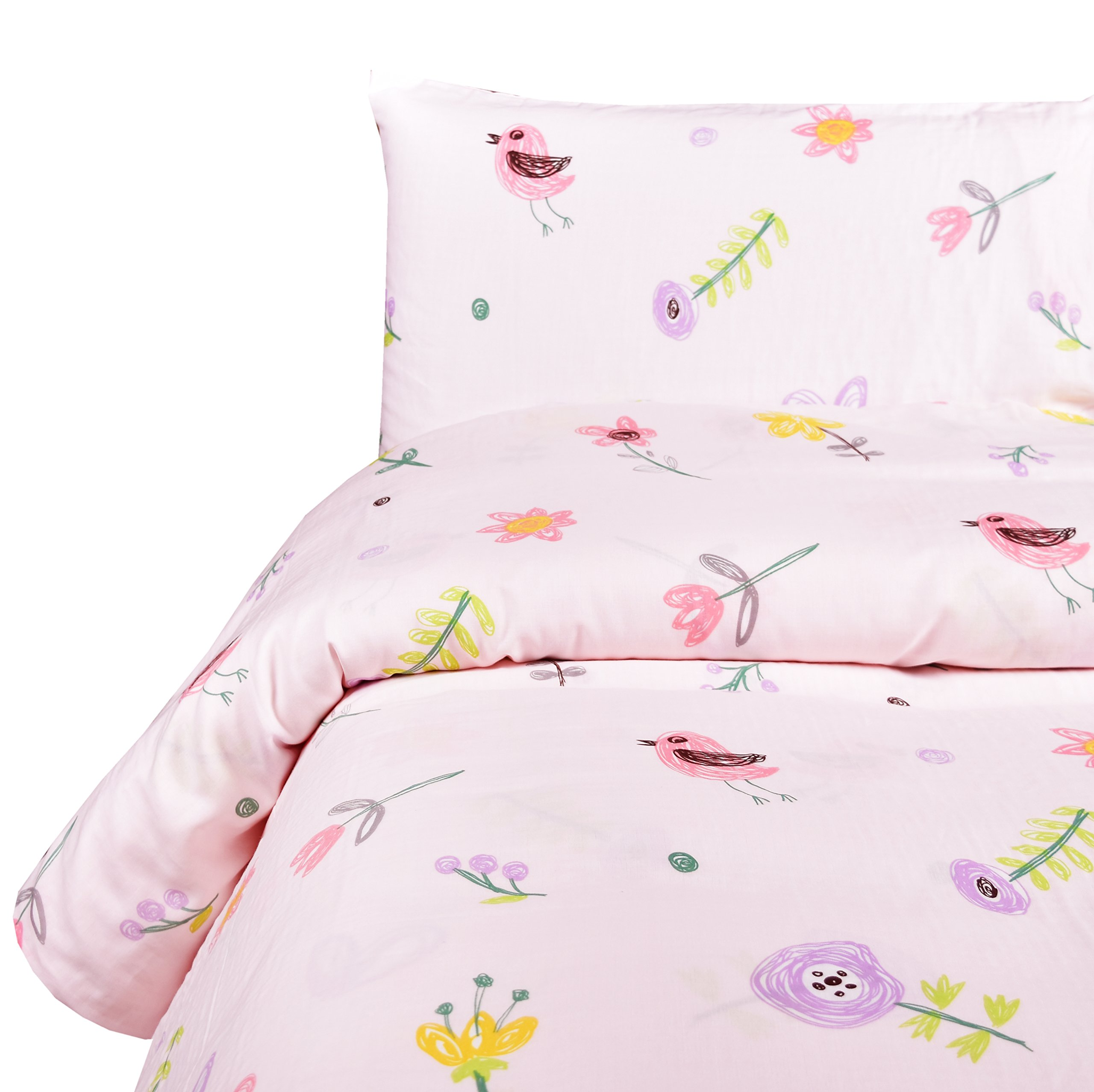 MEJU Birds & Flower Muslin Duvet Cover Set with Zipper Closure for Girls Twin Bed Decoration Gift, Double Layer Muslin 100% Cotton, Duvet Cover + Pillowcase (2, Twin)