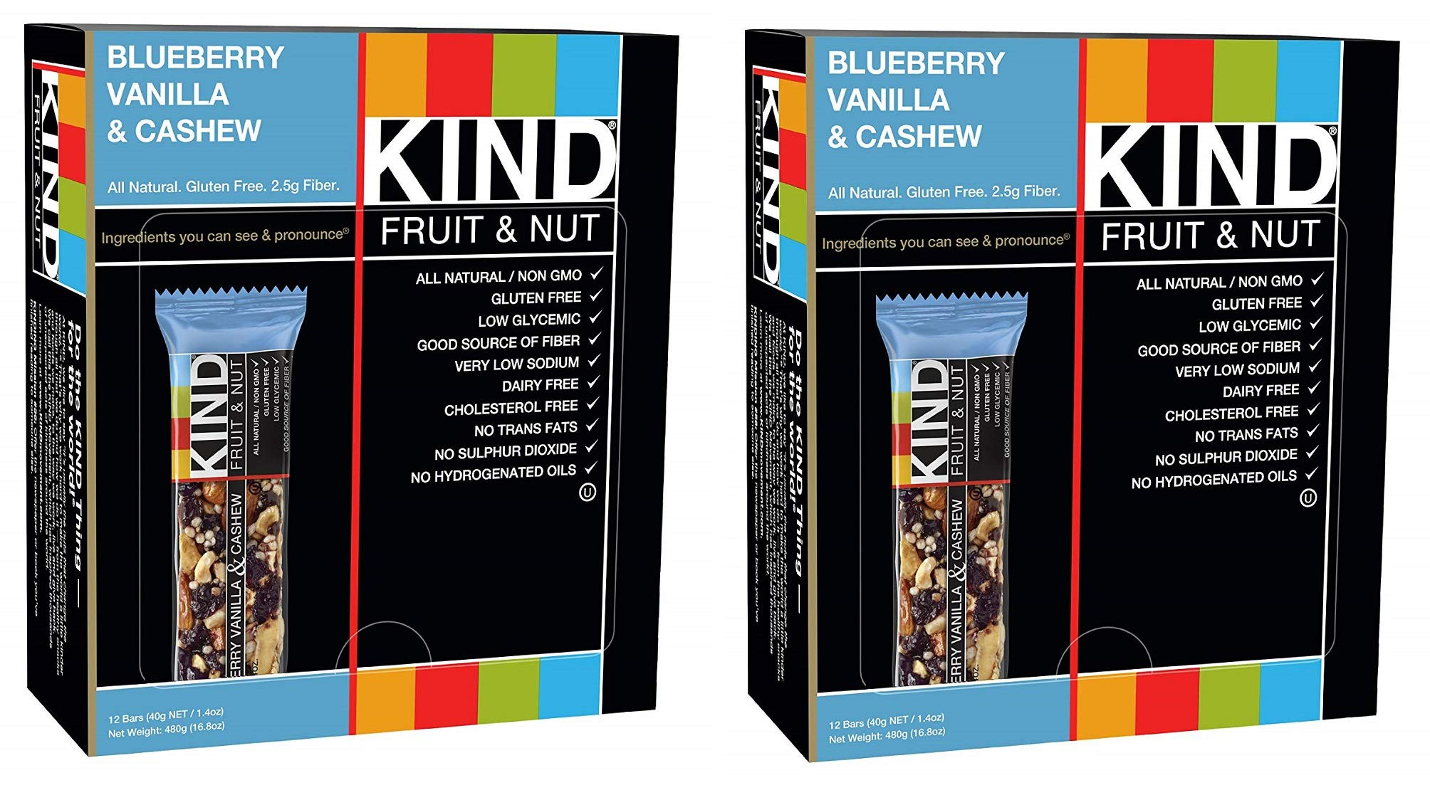 KIND Bars, Blueberry Vanilla and Cashew, Gluten Free, Low Sugar, 1.4oz, 24 Bars