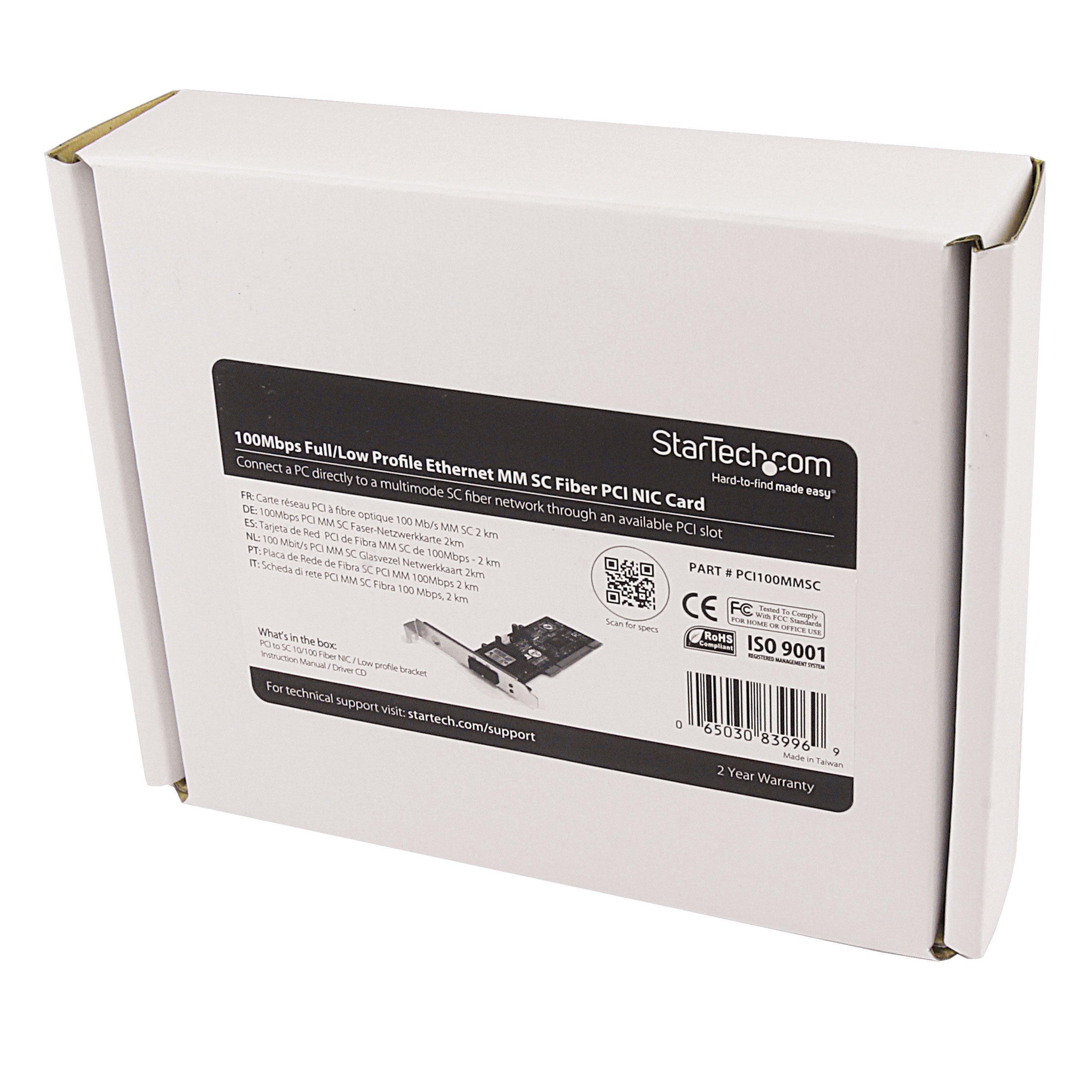 StarTech.com 100Mbps Full/Low Profile Ethernet Multi Mode SC Fiber PCI NIC Card - 2 KM (PCI100MMSC)