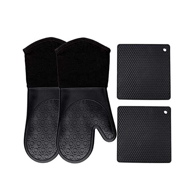 Homwe Silicone Oven Mitts and Potholders (4-Pi...