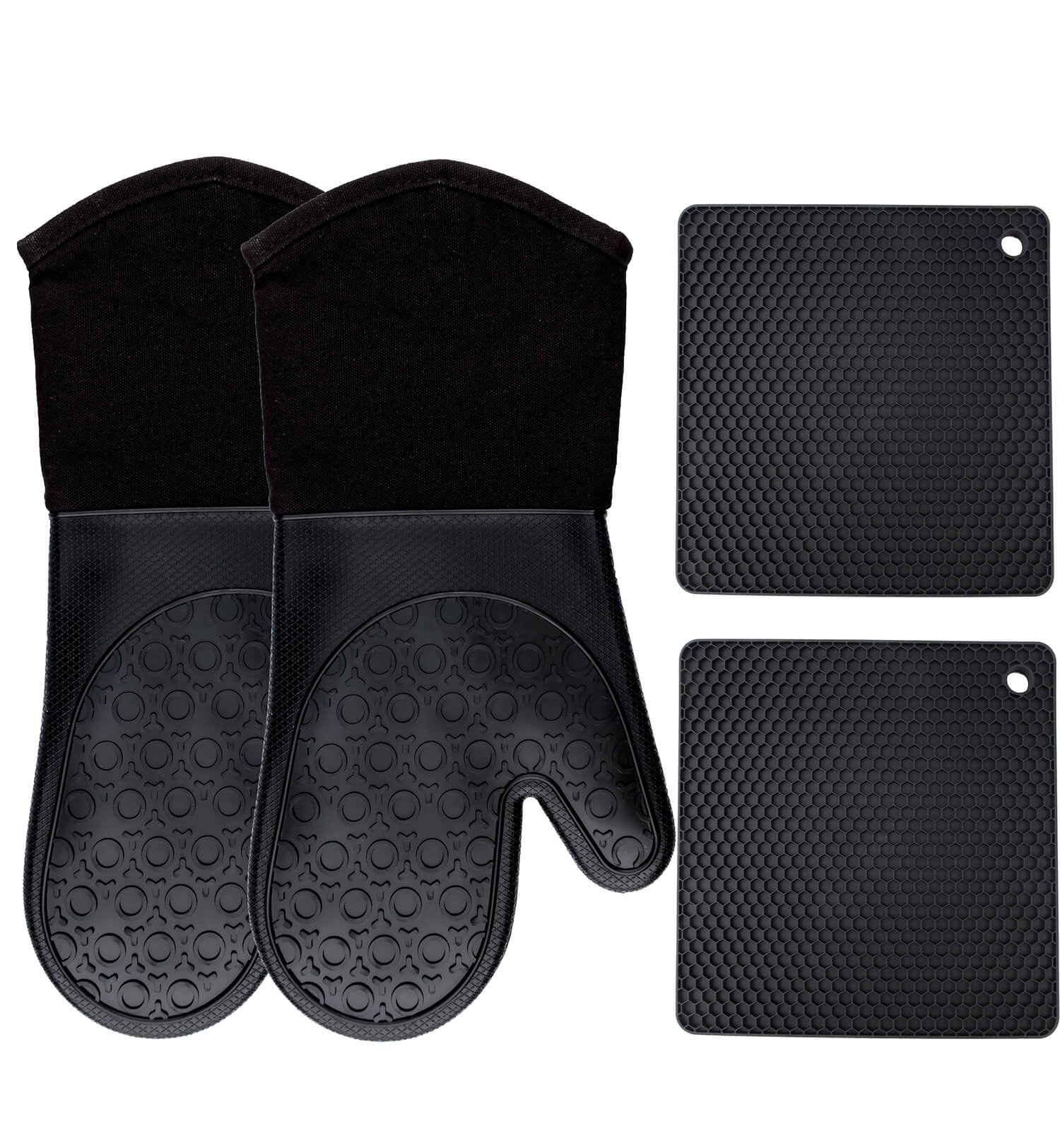 Homwe Silicone Oven Mitts and Potholders (4-Piece Sets), Kitchen Counter Safe Trivet Mats | Advanced Heat Resistant Oven Mitt, Non-Slip Textured Grip Pot Holders(Black) by HOMWE