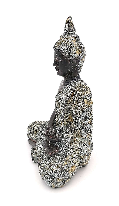 art/ículo de decoraci/ón para casa /& hogar de Buda Escultura G.W Figura de Buda meditando Sentado Sal/ón o Accesorio Ideal como Regalo Zen Garden Bella Thai Estatua 24/cm en Negro Plata