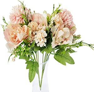 Artificial Fake Flowers Peony Bouquet for Outdoors Decoration Crafts - EverWin Faux Silk Peony Hydrangeas Carnations Artificial Flowers for Home Decor Indoor Wedding Arrangement Table Centerpieces