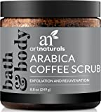 ArtNaturals Pure Arabica Coffee Scrub – The Most Powerful Remedy for Varicose Veins, Cellulite, and Stretch Marks - Deep Skin Exfoliator That Promotes Cell Repair & Rejuvenation - 8 oz