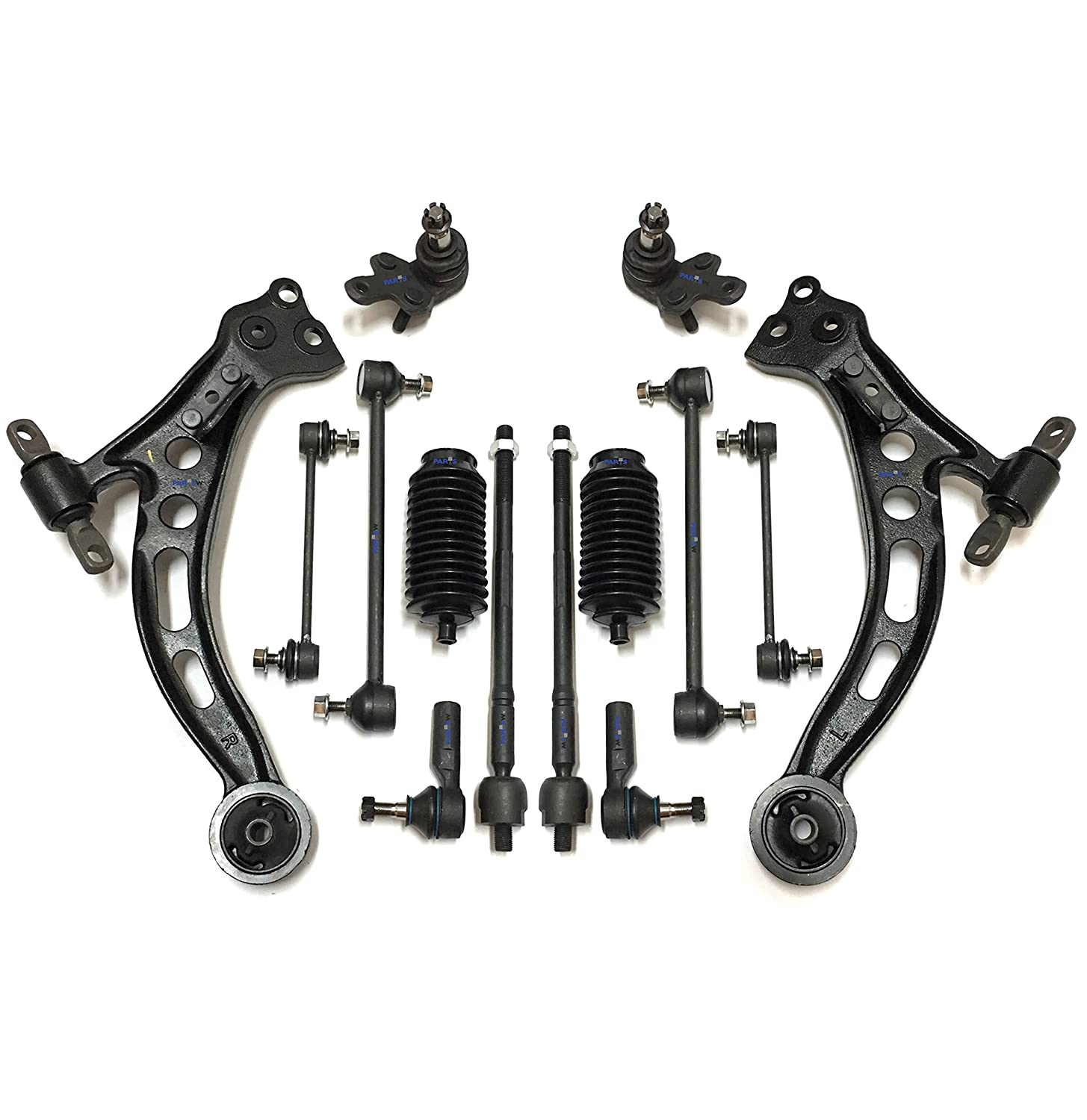 PartsW 14 Pc Complete Suspension Kit for Lexus ES300 & Toyota Avalon Camry,  Front Lower Control Arms Ball Joints Inner Outer Tie Rod Sway Bar Link