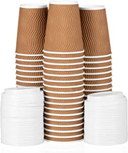 12 oz To Go Coffee Cups with Lids - 100 Disposable, Insulated & Recyclable Brown Ripple Paper Coffee Cups