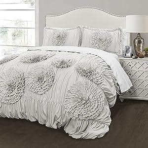 Lush Decor Serena Comforter Ruched Flower 3 Piece Set Full Queen Light Gray