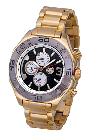 ShoppeWatch Mens Gold Watch Black Dial Metal Band Multifunction Day Date Reloj Hombres Big Face AQ202823G