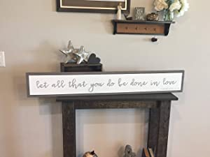 "Dozili Framed Style Wood 'let All That You do be Done in Love' Sign Love Family Together Farmhouse Rustic Decor 6"" x 20"""