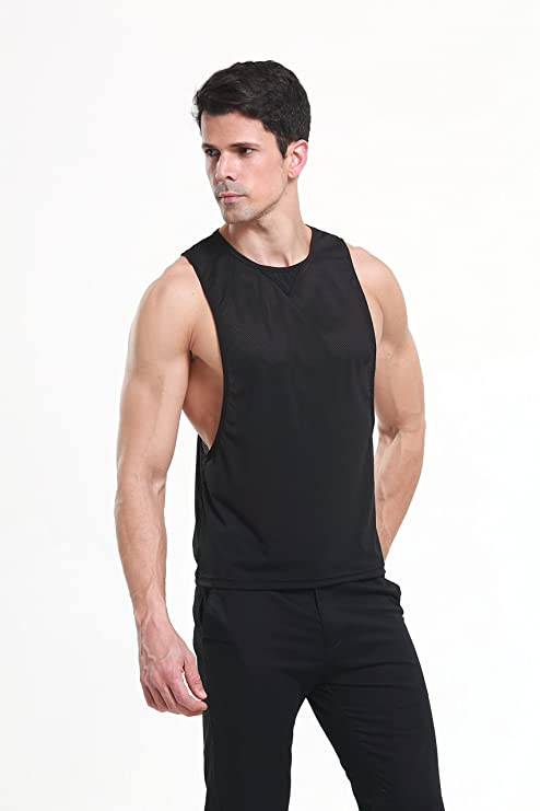 22688fc11f604 iYunyi Men s Summer Loose Open Side Net Gym Tank Top Vest at Amazon Men s  Clothing store