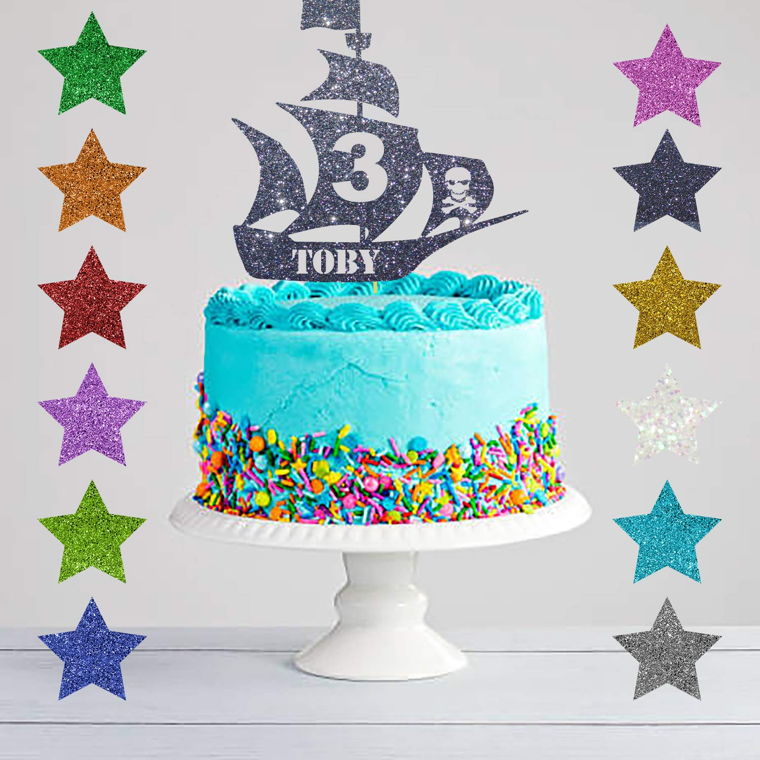 Terrific Personalised Pirate Ship Cake Topper Any Name Any Age Amazon Co Funny Birthday Cards Online Necthendildamsfinfo