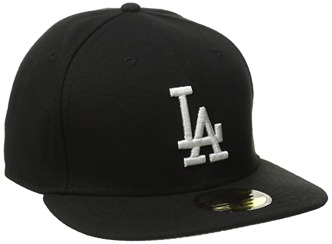 detailed look 6d812 f9246 Amazon.com   New Era MLB Los Angeles Dodgers Black with White 59FIFTY  Fitted Cap   Clothing